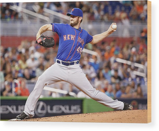 Second Inning Wood Print featuring the photograph New York Mets V Miami Marlins by Rob Foldy