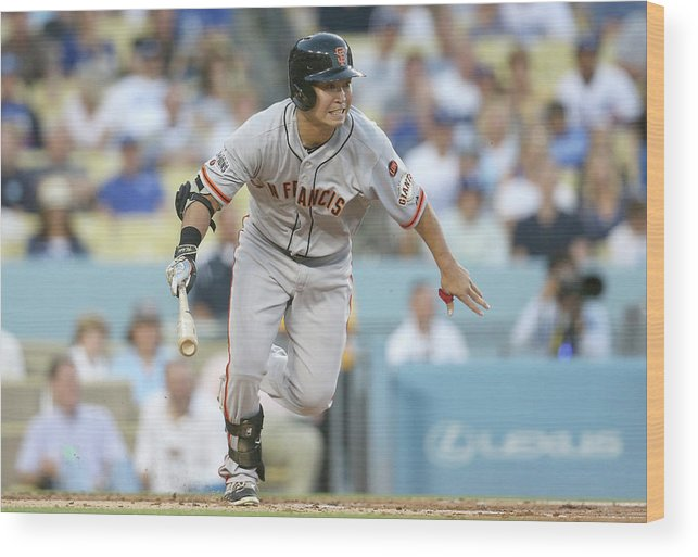 People Wood Print featuring the photograph San Francisco Giants V Los Angeles by Stephen Dunn