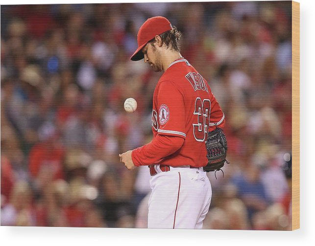 Three Quarter Length Wood Print featuring the photograph Houston Astros V Los Angeles Angels Of by Stephen Dunn