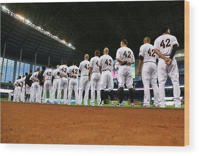 American League Baseball Wood Print featuring the photograph Washington Nationals V Miami Marlins by Mike Ehrmann