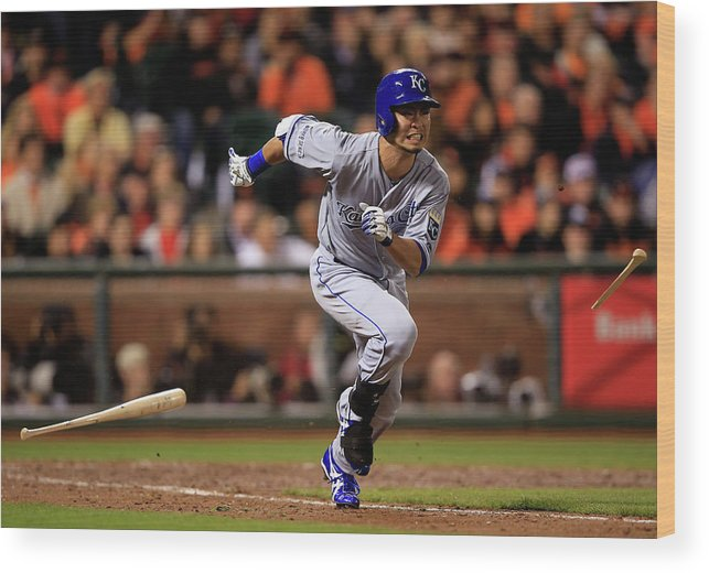 Double Play Wood Print featuring the photograph World Series - Kansas City Royals V San by Jamie Squire