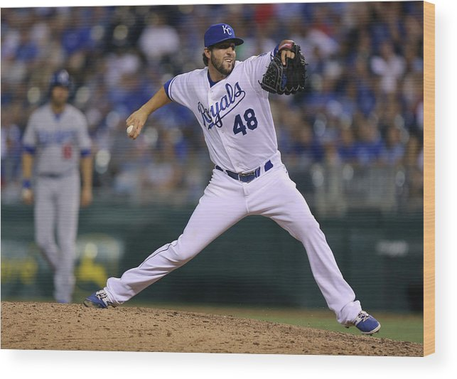 Ninth Inning Wood Print featuring the photograph Los Angeles Dodgers V Kansas City Royals by Ed Zurga