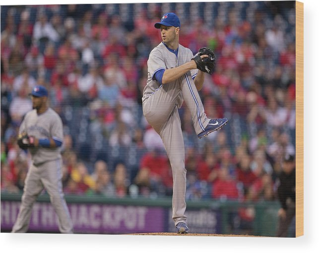 Citizens Bank Park Wood Print featuring the photograph Toronto Blue Jays V Philadelphia by Mitchell Leff