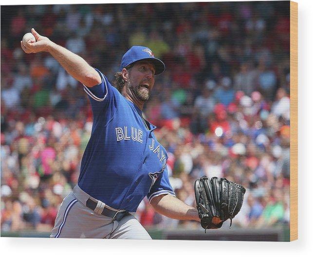 People Wood Print featuring the photograph Toronto Blue Jays V Boston Red Sox by Jim Rogash