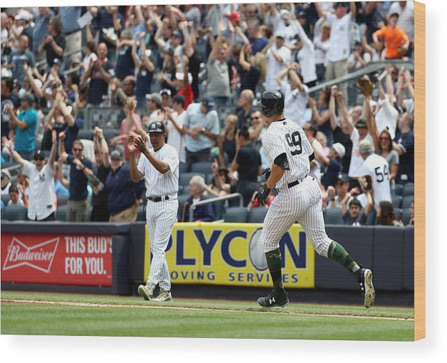 People Wood Print featuring the photograph Oakland Athletics v New York Yankees by Elsa
