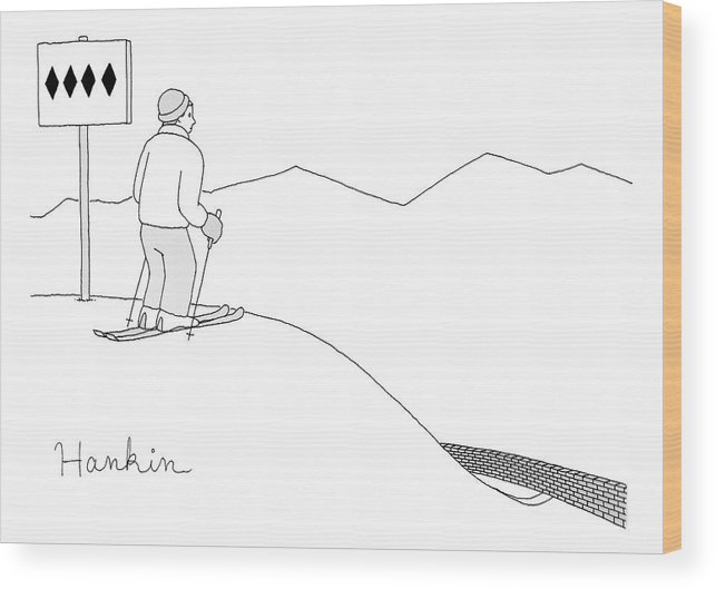 Captionless Wood Print featuring the drawing A Man Stands At The Top Of A Ski Slope by Charlie Hankin