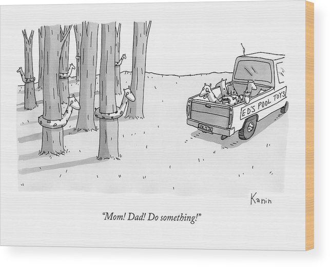 Pool Toys Wood Print featuring the drawing A Truck For Ed's Pool Toys Drives Pool Toys by Zachary Kanin