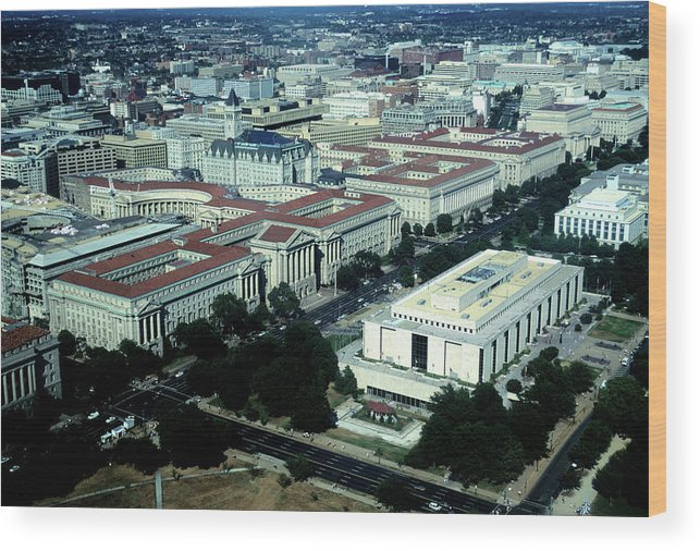 Downtown District Wood Print featuring the photograph Aerial View Of Constitution Avenue by Hisham Ibrahim