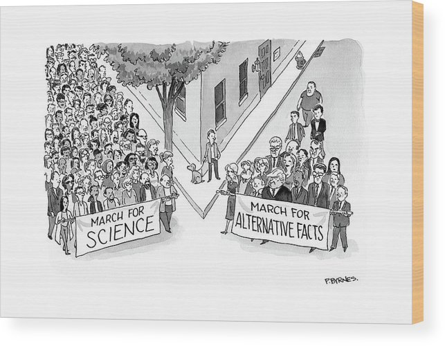 Trump Wood Print featuring the drawing Alternative Marches by Pat Byrnes