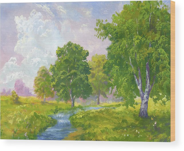 Scenics Wood Print featuring the digital art Beautiful Summer by Pobytov