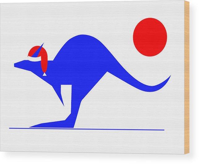 Blue Kangaroo Wishes You A Merry Christmas Wood Print featuring the digital art Blue Kangaroo wishes you a Merry Christmas by Asbjorn Lonvig