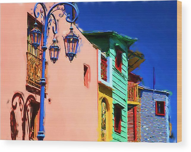Buenos Aires Suburb Caminito With Blue Lamp Painting Wood Print featuring the digital art Buenos Aires suburb Caminito with blue lamp Painting by Asbjorn Lonvig