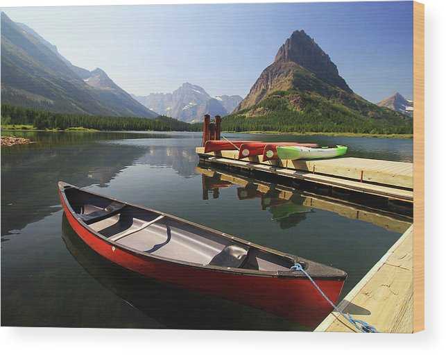 Scenics Wood Print featuring the photograph Canoe At St Mary Lake In Glacier by L. Toshio Kishiyama