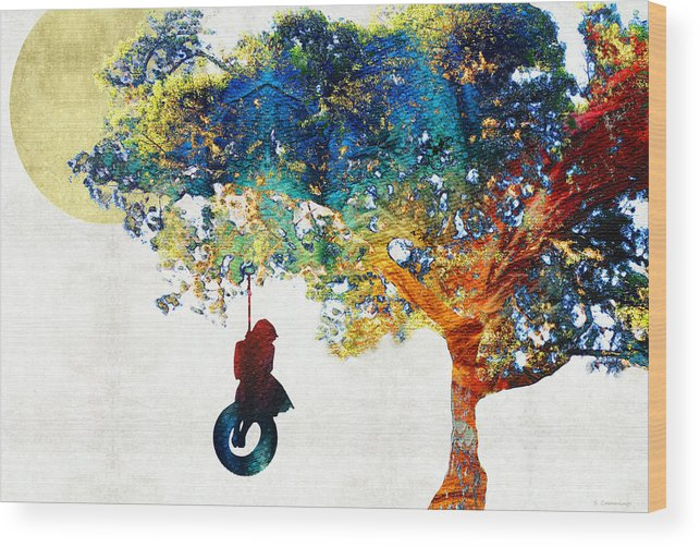 Tree Wood Print featuring the painting Colorful Landscape Art - The Dreaming Tree - By Sharon Cummings by Sharon Cummings