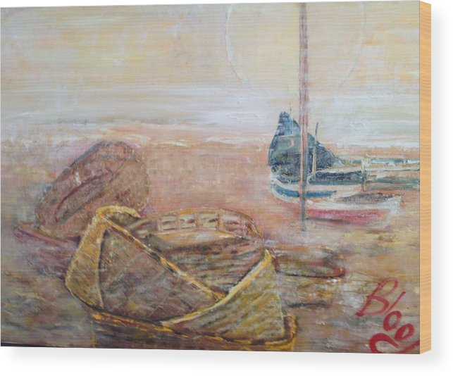 Beach Wood Print featuring the painting Colva by Peggy Blood