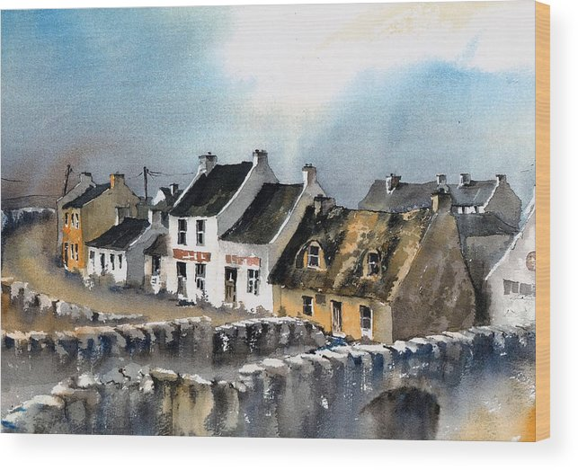 Val Byrne Wood Print featuring the painting Clare Doolin Village by Val Byrne
