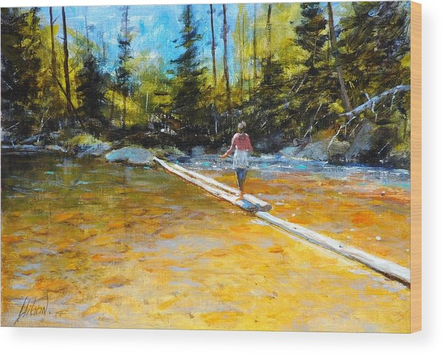 Mountain Stream Wood Print featuring the painting Easy does it by Greg Clibon
