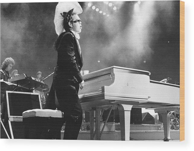 Elton John Wood Print featuring the photograph Elton John '86 #1 by Chris Deutsch