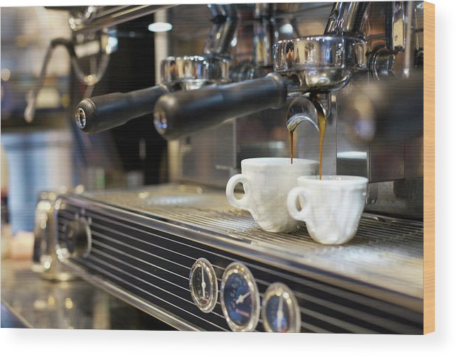 Making Wood Print featuring the photograph Espresso Machine Pouring Coffee Into by Kathrin Ziegler