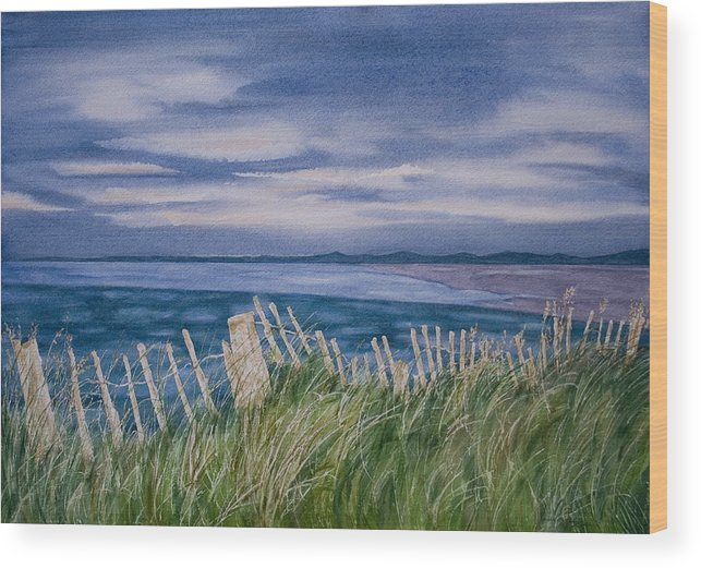 Landscape Wood Print featuring the painting Evening Tide by Monika Degan