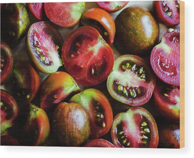 Tranquility Wood Print featuring the photograph Freshly Cut Tomatoes by Jamie Grill