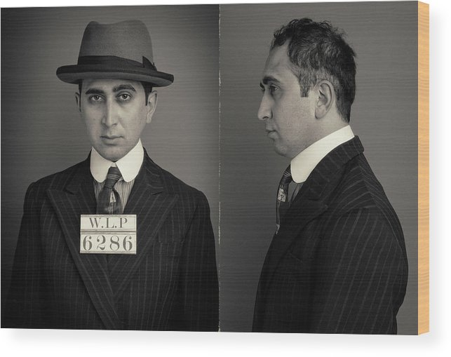 Guilt Wood Print featuring the photograph Hakan The Boss Wanted Mugshot by Nick Dolding