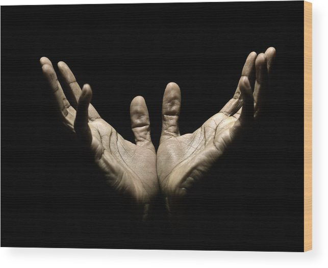 Thank You Wood Print featuring the photograph Hands to Heaven by Juanmonino