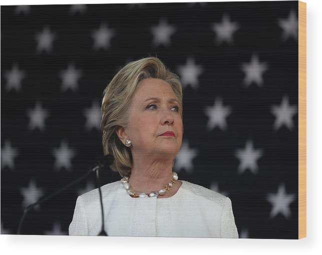 Nominee Wood Print featuring the photograph Hillary Clinton Campaigns Across by Justin Sullivan