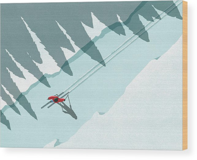 Ski Pole Wood Print featuring the digital art Illustration Of Man Skiing During by Malte Mueller