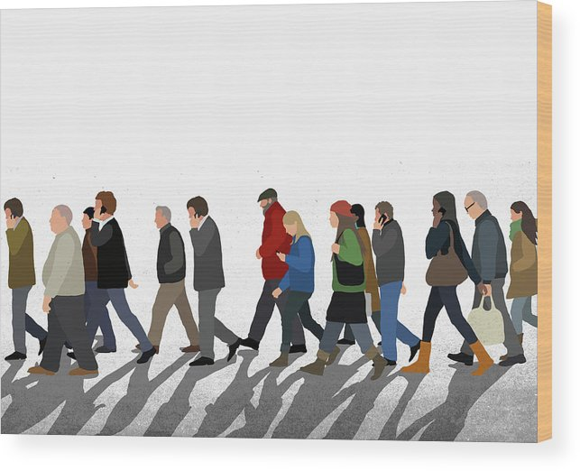 Shadow Wood Print featuring the digital art Illustration Of People Walking On by Malte Mueller