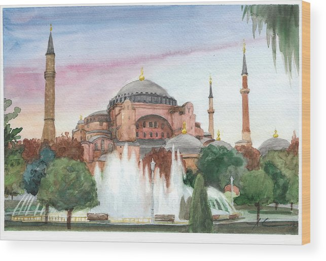 <a Href=http://miketheuer.com Target =_blank>www.miketheuer.com</a> Istanbul Mosque Watercolor Painting Wood Print featuring the drawing Istanbul Mosque Watercolor Painting by Mike Theuer