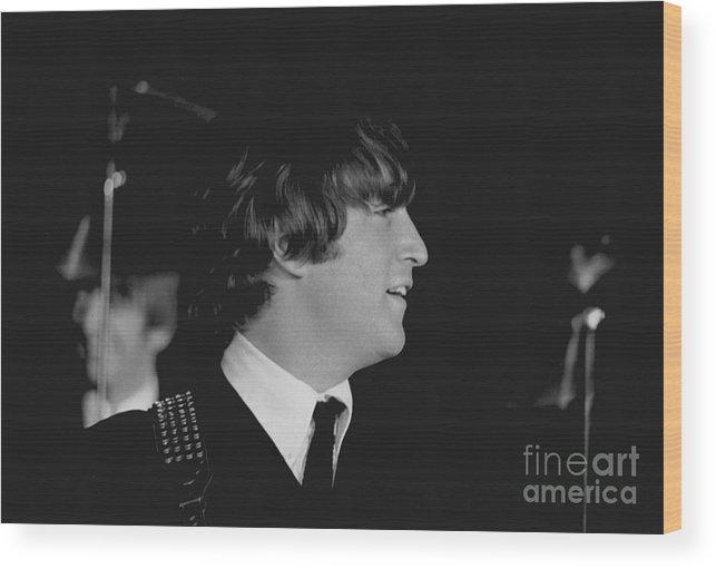Beatles Wood Print featuring the photograph John Lennon, Beatles Concert, 1964 by Larry Mulvehill
