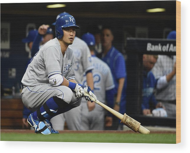 Only Japanese Wood Print featuring the photograph Kansas City Royals V San Diego Padres by Denis Poroy