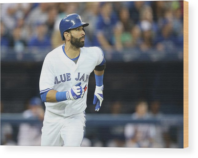 American League Baseball Wood Print featuring the photograph Kansas City Royals V Toronto Blue Jays by Tom Szczerbowski