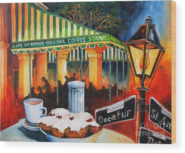 New Orleans Wood Print featuring the painting Late at Cafe Du Monde by Diane Millsap