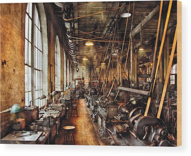 Machinist Wood Print featuring the photograph Machinist - Machine Shop Circa 1900's by Mike Savad