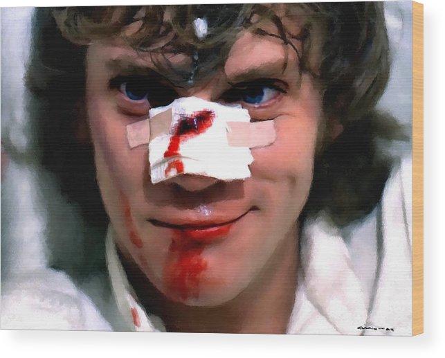 Alex Wood Print featuring the digital art Malcolm McDowell as Alex in the film Clockwork Orange by Stanley Kubrick 1971 by Gabriel T Toro