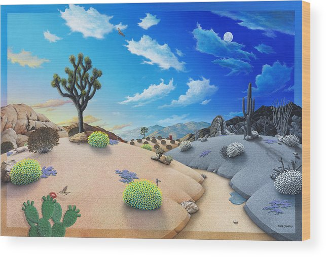 Joshua Tree Wood Print featuring the painting Joshua Tree morning to night by Snake Jagger
