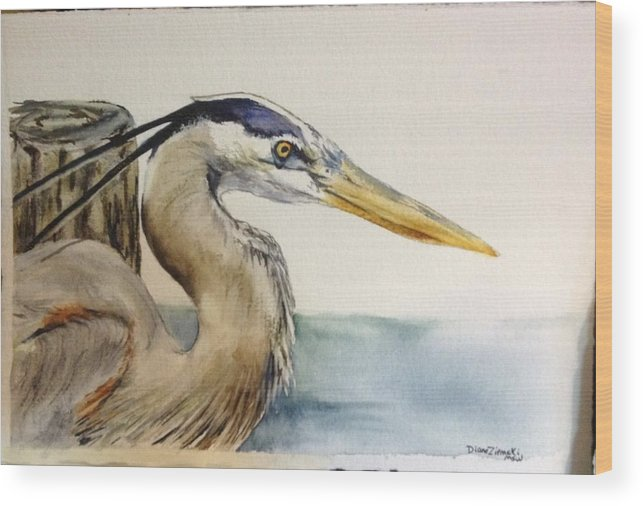 Watercolor Wood Print featuring the painting Mr herrin by Diane Ziemski