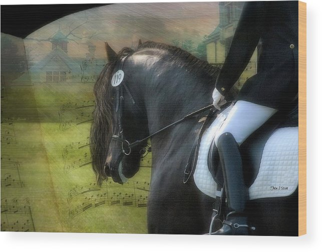 Friesian Horses Wood Print featuring the digital art Musical Freestyle by Fran J Scott