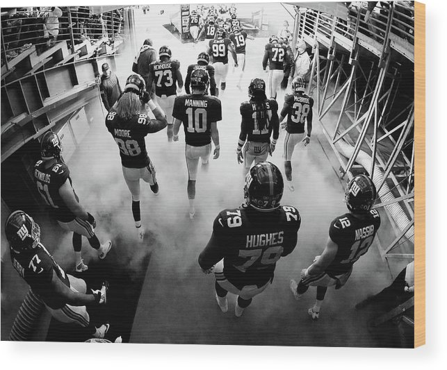 People Wood Print featuring the photograph New England Patriots V New York Giants by Al Bello
