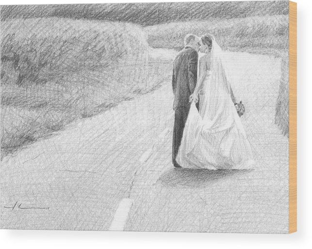 <a Href=http://miketheuer.com Target =_blank>www.miketheuer.com</a> Wood Print featuring the drawing Newlyweds Walking Kissing Pencil Portrait by Mike Theuer