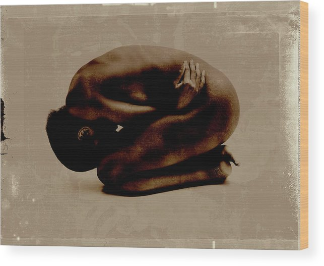 People Wood Print featuring the photograph Nude Woman Kneeling Curled Up by Win-initiative