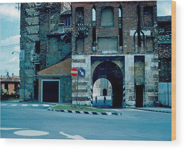 Vicenza Wood Print featuring the photograph Old City Gate Vicenza 1962 by Cumberland Warden