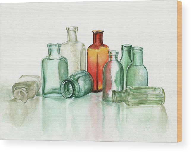 Material Wood Print featuring the photograph Old Pharmacys Glassware by Sergey Ryumin
