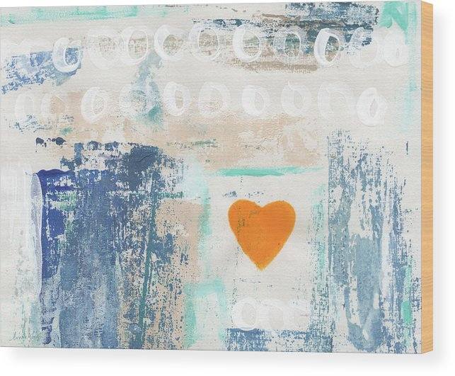 Heart Wood Print featuring the painting Orange Heart- abstract painting by Linda Woods