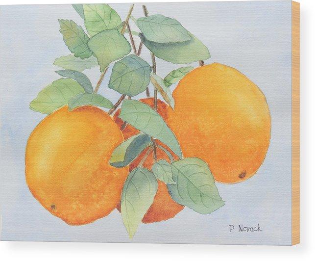 Orange Wood Print featuring the painting Orange Trio by Patricia Novack