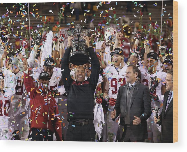 Celebration Wood Print featuring the photograph Pac 12 Championship - Stanford V by Christian Petersen