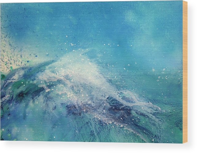 Gouache Wood Print featuring the digital art Painting Of An Ocean Wave by Brad Rickerby