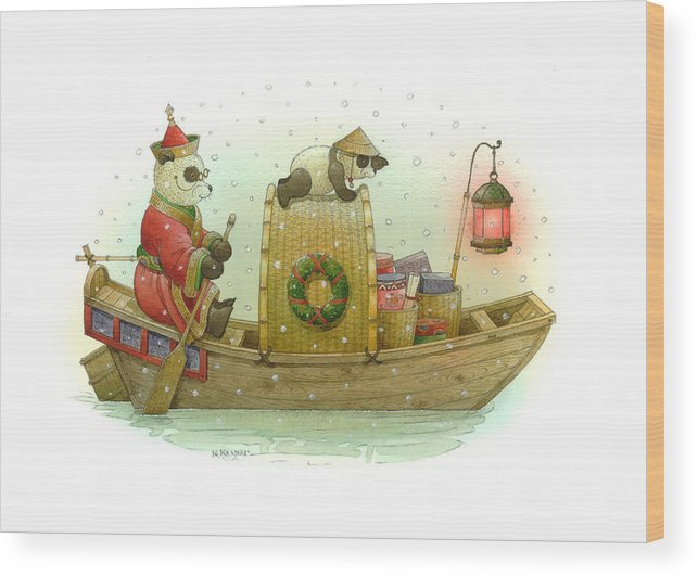 Christmas Panda Bear Snow Winter White Red Boat Water Holiday Wood Print featuring the painting Pandabears Christmas by Kestutis Kasparavicius